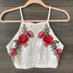 L'ATISTE | Rose Embroidered Lace Boho Crop Top